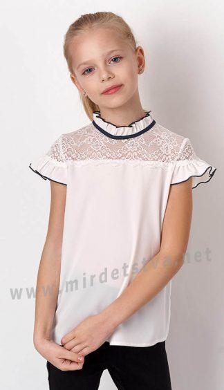 Белая блузка шифоновая для девочек Mevis 3287-01