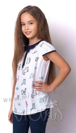 Блузка с коротким рукавом для девочки Mevis 3163-01