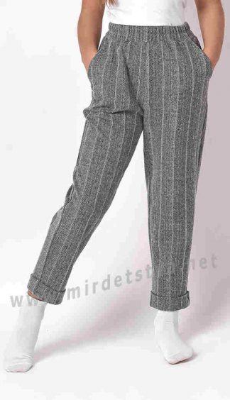 Серые теплые брюки для девочки Mevis 3394-01