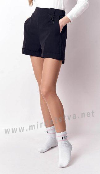 Синие школьные шорты для девочки Mevis 3262-01