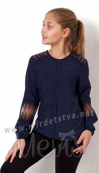 Синяя блузка с длинным рукавом Mevis 3188-03