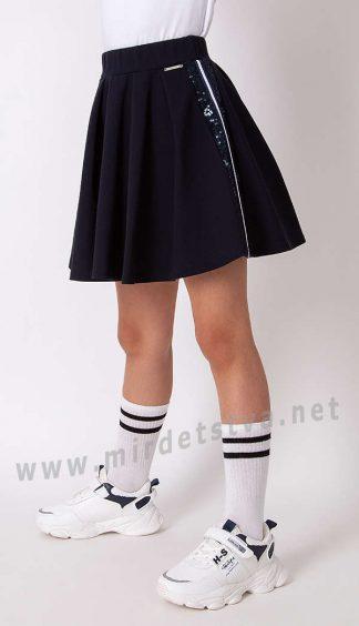 Синяя школьная юбка для девочки Mevis 3306-01
