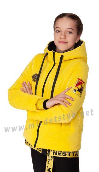 Желтая демисезонная куртка с подтяжками Nestta Vanesa