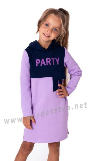 Трикотажное детское платье с капюшоном Mevis 3550-03