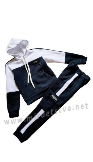 Модный флисовый спортивный костюм бело-синий