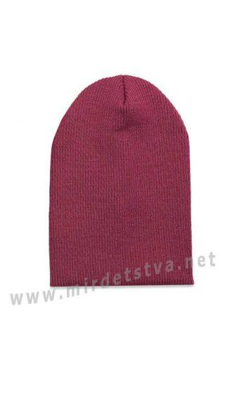 Бордовая шапка из трикотажа