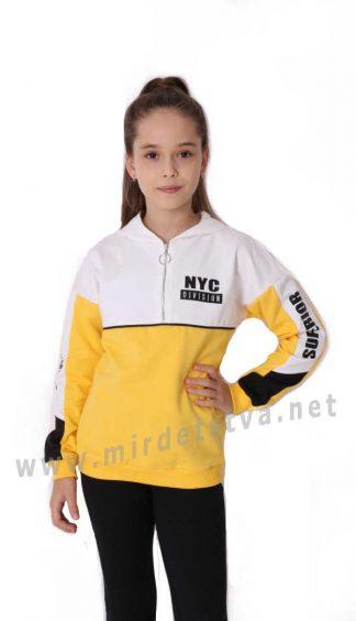 Модная кофта с капюшоном на девочку Mevis 3643-04