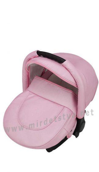 Автокресло переноска 0+ Adamex Carlo кожа 100% SM5 розовый перламутр
