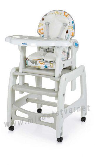 Легкий и устойчивый стульчик-трансформер для кормления Bambi M 1563 Animal Gray