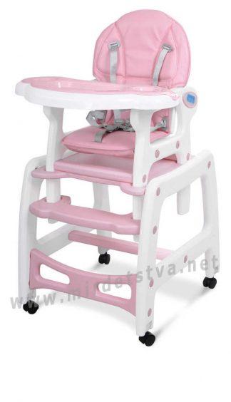 Розовый стульчик для кормления с качалкой Bambi M 1563-8-1