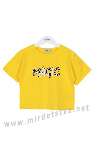 Красивая желтая футболка на девочку Wanex