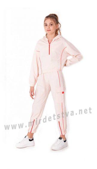 Пудровый подростковый брючный костюм Mevis 3725-03