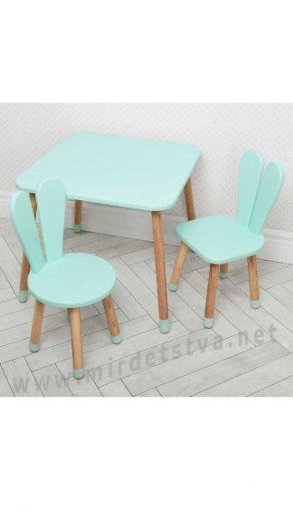 Бирюзовый детский столик со стульями Bambi 04-025B+1