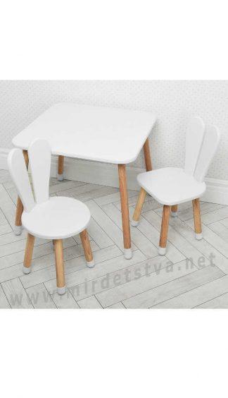 Белый детский столик со стульями Bambi 04-025W+1