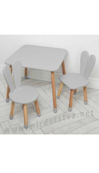 Серый детский столик со стульями Bambi 04-025GREY+1