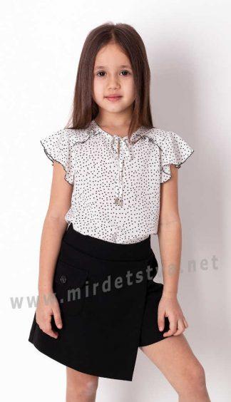 Блузка школьная короткий рукав крылышко Mevis 3792-01