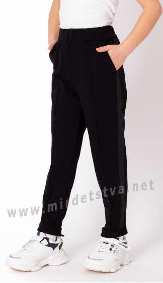 Черные брюки с высокой посадкой для девочки в школу Mevis 3742-02
