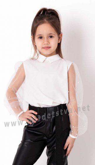 Нарядная шифоновая детская блузка с рукавами сетка Mevis 3799-02
