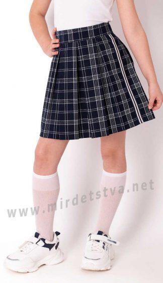 Школьная юбка в складку синяя клетка Mevis 3843-03