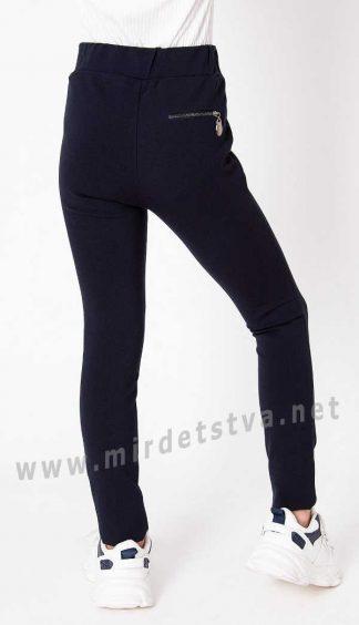 Синие школьные узкие брюки леггинсы Mevis 3775-01