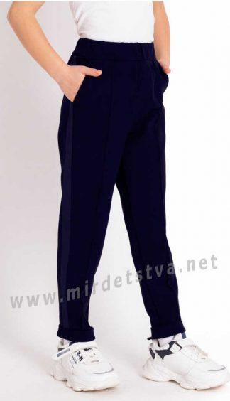 Стильные школьные синие брюки девочке Mevis 3742-01