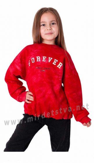 Красный джемпер с начесом тай — дай на девочку Mevis 3593-04