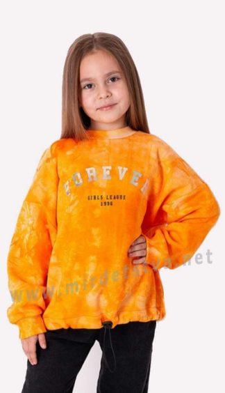 Трикотажный свитер с начесом тай — дай на девочку Mevis 3593-03