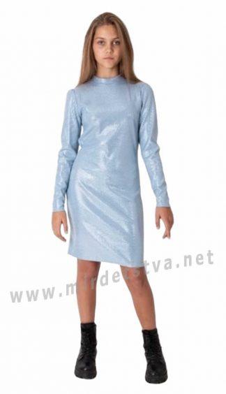 Голубое подростковое трикотажное платье в рубчик Mevis 4063-03