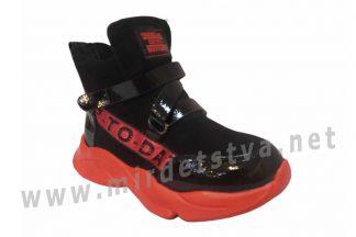 Красивые легкие демисезонные ботинки на девочку Clibee A95 black-red