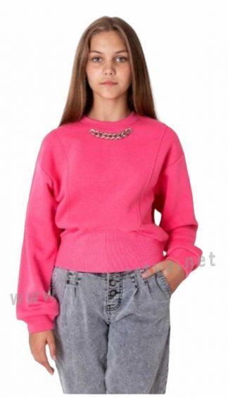 Модный подростковый розовый джемпер с начесом Mevis 4023-01