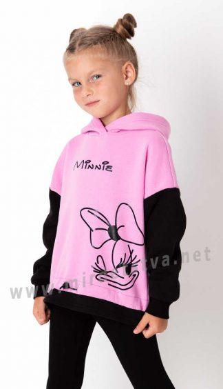 Розовое худи на флисе для девочки Mevis 3970-01