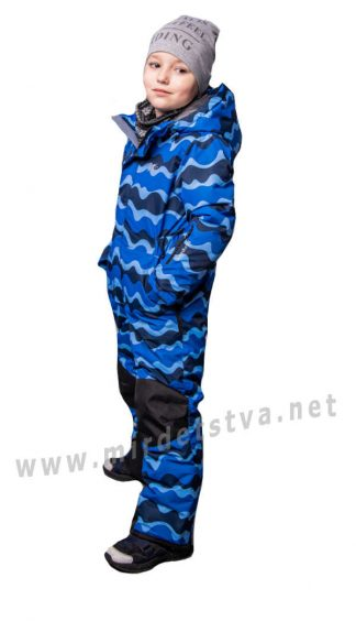 Синий зимний комбинезон на мембране Traveler Волна для мальчика