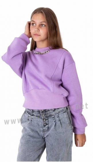 Сиреневый свитшот с начесом для девочки — подростка Mevis 4023-03