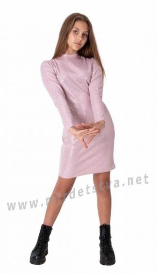 Трикотажное пудровое платье на девочку подростка Mevis 4063-04