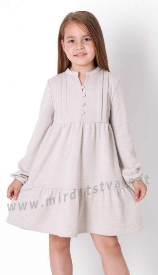 Бежевое платье с длинным рукавом на девочку Mevis 3913-01
