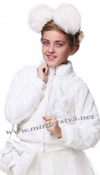 Белый меховый полушубок для девочки Lukas 5515