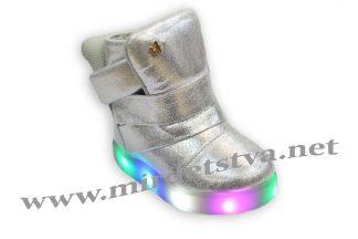 Ботинки для девочки Sabana E506-1-3 серебристые светящиеся