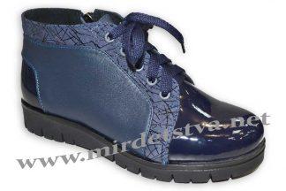 Ботинки для девочки Tops Д40_15 синий лаковые кожаные