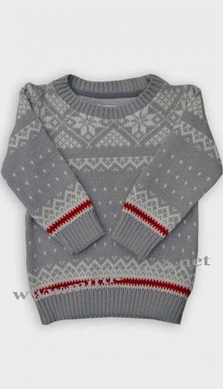 Детский свитер Gusenica Снежинка серая