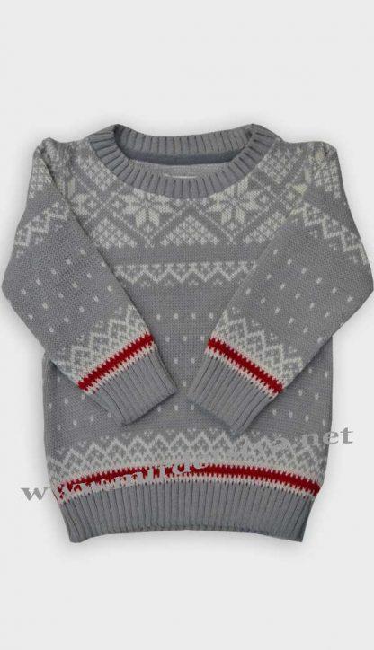 Детский свитер Gusenica «Снежинка» серый