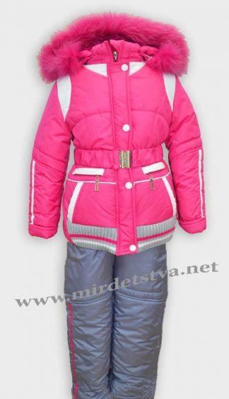 Комплект зимний для девочки Sikor серо-розового цвета