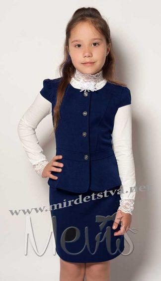 Костюм школьный для девочки Mevis 2073 синий