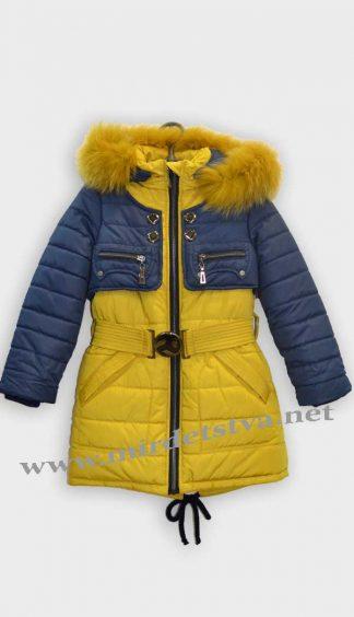 Куртка зимняя для девочки Sikor Кокетка сине-песочная