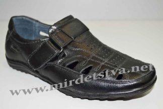 Мокасины кожаные для мальчика Kangfu T702-3 черные