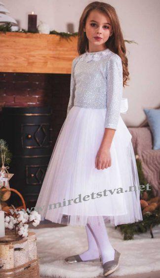 Нарядное платье для девочки Lukas 7509 серебристое из фатина