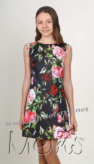 Платье Mevis 2079 для девочки черного цвета подростковое