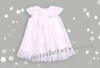 Платье крестильное белое Бемби ПЛ200 расклешенной формы
