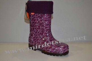 Резиновые сапоги для девочки Demar Twister Lux Print O 0039 фиолетовые