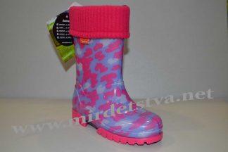 Резиновые сапоги для девочки Demar Twister Lux Print C 0039 розовые