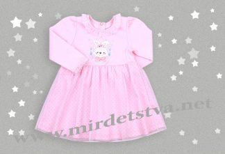 Розовое платье для девочек Бемби ПЛ198